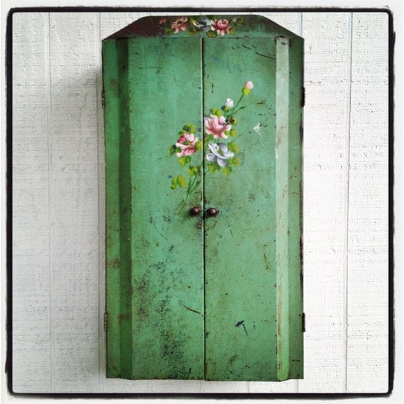 RESERVE FOR LISA Vintage metal industrial wall cabinet with hand-painted flowers shabby tole