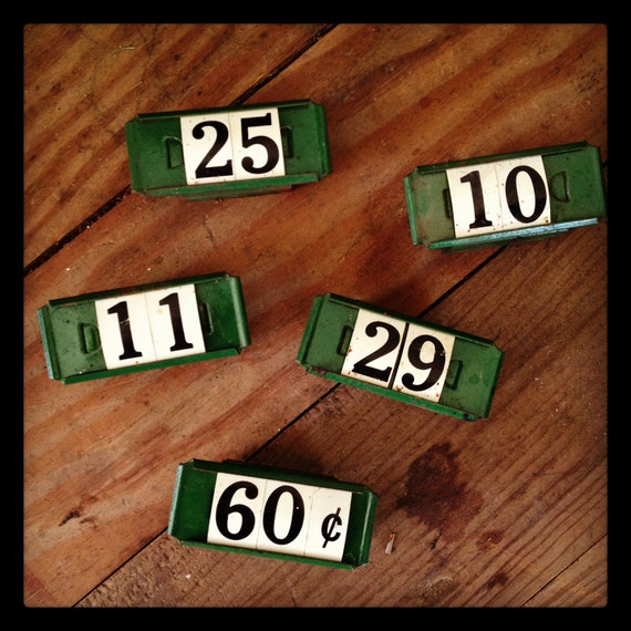 RESERVE FOR MARIE Vintage industrial metal store price tags/shelf markers mercantile (set of 5)