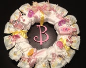 Personalized DIAPER WREATH Baby Shower Gift Custom Decoration GIRL Initial Ladybug Plaque Pink or Any Colors