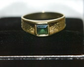 Square-cut Tourmaline and Gold ring size 7 1/2