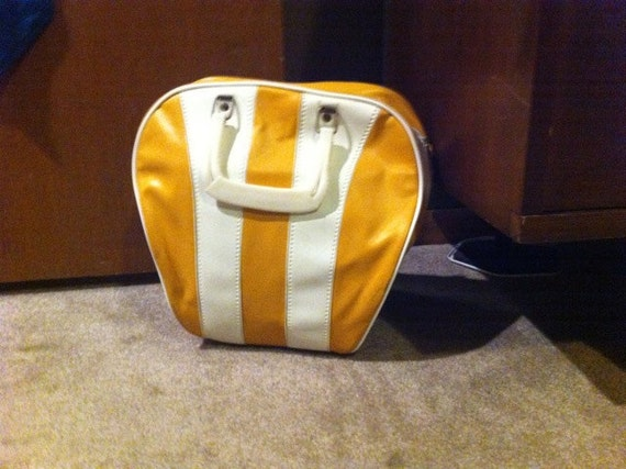 Vintage Yellow and White Bowling Ball Bag Purse
