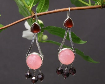 Garnet and Rose Quartz Chandelier Earrings, Hammered Sterling Silver with Faceted Garnet Beads
