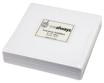 """Tearaway Embroidery Stabilizer for Embroidery Machines - 8""""x8"""", 200 sheets"""