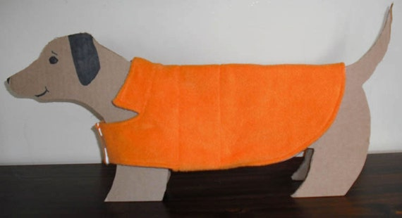 Bright ORANGE Mini Dachshund Fleece Dog Coat with cute cotton flannel lined. Cozy Warm.