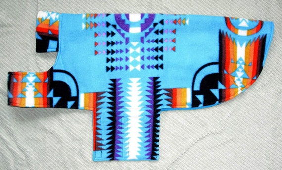 Southwestern theme Fleece Dog Coat size x-large (60 lbs.)  with cotton lining. Cozy, Warm and Cute.