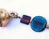 HANDCRAFTED hanging BRASS BELL  windchime with Purple and Teal Green glass beads