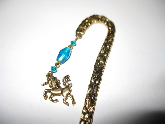 Fancy GOLD Tone BOOKMARK with UNICORN and Blue Beads