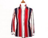 Vintage 1970s Pointed Collar Shirt - Red White Blue Stripe - Patriotic Fourth of July Shirt - Size Small S/M Medium