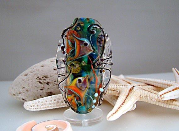 Lampwork Focal bead, Handmade sculptural shape 'Ocean' series