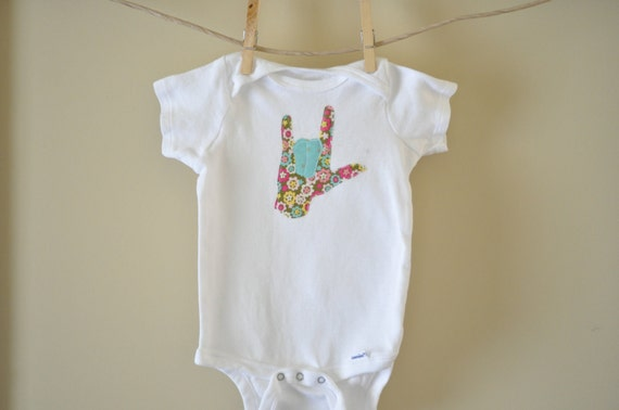 """Sign Language """"I Love You"""" Onesie - 18 months (Ready to Ship)"""