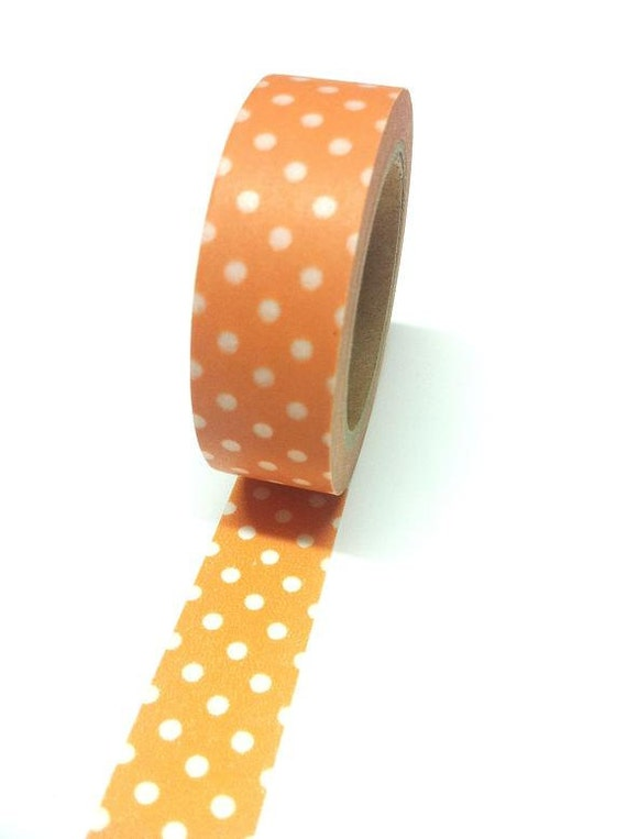 Washi Tape - Orange Polka Dot (1 roll)