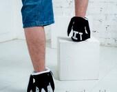 Handmade black&white bunny slippers Men