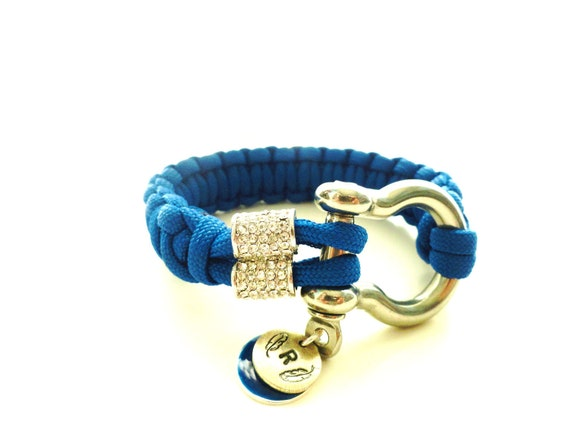 Silver Small Pave Barrel Anchor Shackle Paracord Bracelet