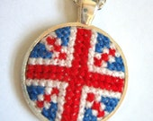 SALE Union Jack Cross Stitch Pendant