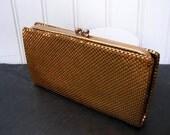 Vintage Gold evening bag mesh clutch Purse Vintage 1960s coin purse EC