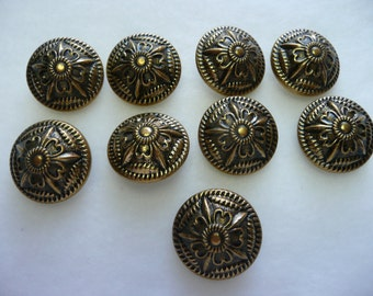 9 Vintage Antique Gold Tone Victorian Brass Buttons