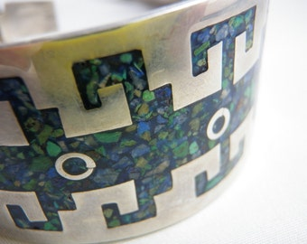 Taxco Mexico Bracelet, Azure Malachite Cuff Bracelet, Vintage  Mexican 1970s Jewelry Aztec Tribal Southwest Cuff