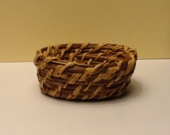 Miniature pine needle oval basket