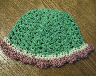 Baby Beanie - 6-12 month / Green and Rose