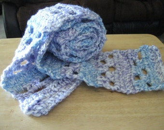 Very Soft and Cozy Purple and Blue Scarf - Handmade