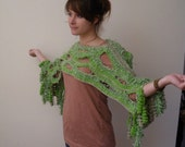 hand made crochet green scarf or poncho or capelet for the summer and all the year for a party.