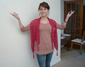 hand made crocheted red vest or bolero or scarf with lamé.FREE SHIPPING.