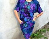 Vintage 80's Dress Purple Floral
