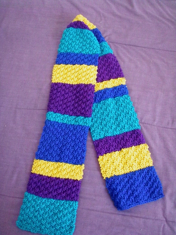 Items similar to Handmade Multi-coloured Box Stitch Knit Striped Scarf on Etsy