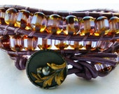Maui Three Wrap Leather Bracelet in Translucent Multi Colored Lavender Cut Glass, Victorian Steel Cut Button and Purple Leather