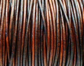10 Yards of Size 1.5mm  Dark Brown Distressed Genuine Leather Cording for Leather Wrap Bracelets