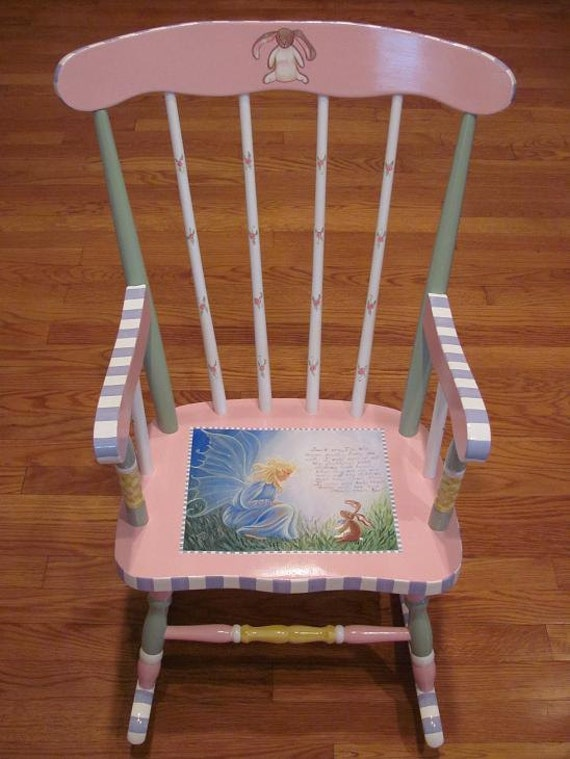 Items similar to hand painted velvateen rabbit rocking - Paint for childrens furniture ...