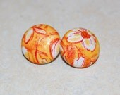 Fabric Button Earrings - Orange Floral