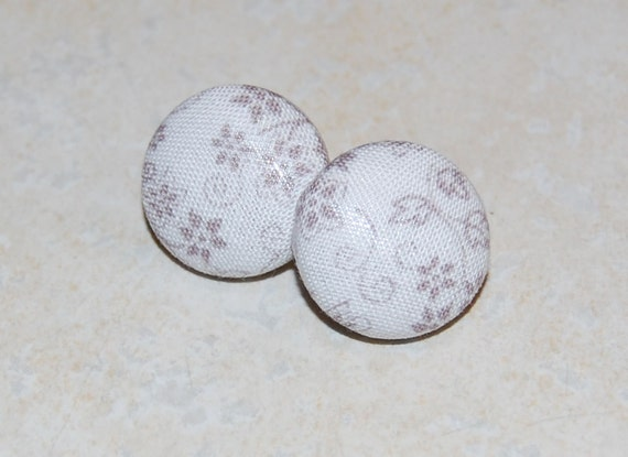 Fabric Button Earrings - White Floral