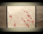 Original Modern Art  Painting on Gallery wrapped Canvas 48 x 24, Home Decor, Wall Art ---Japanese Plum Blossoms---- by Tomoko Koyama