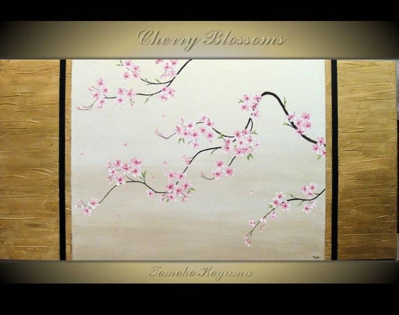 """Original Modern Art  Painting on Gallery wrapped Canvas 48"""" x 24"""", Home Decor, Wall Art ---Japanese Cherry Blossoms II---"""