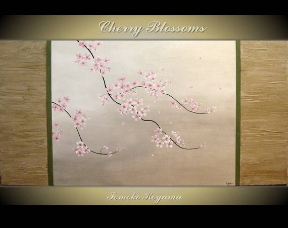 Original Modern Art  Painting on Gallery wrapped Canvas 48 x 24, Home Decor, Wall Art ---Japanese Cherry Blossoms--- by Tomoko Koyama