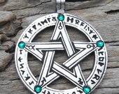 Pewter Pentagram Swarovski Crystal Pendant, Pagan Wiccan Pentacle with Runes and Emerald Green MAY Birthstone (50G)