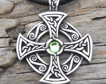 Pewter SOLAR CROSS Swarovski Crystal Celtic Druid Irish Peridot AUGUST Birthstone Pendant