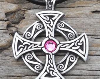 Pewter SOLAR CROSS Swarovski Crystal Celtic Druid Irish Pink Tourmaline OCTOBER Birthstone Pendant