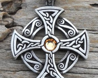 Pewter SOLAR CROSS Swarovski Crystal Celtic Druid Irish Gold Topaz NOVEMBER Birthstone Pendant