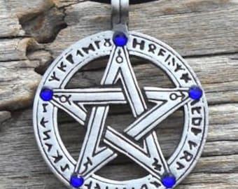 Pewter Pentagram Swarovski Crystal Pendant, Pagan Wiccan Pentacle with Runes and Sapphire Blue SEPTEMBER Birthstone (50G)