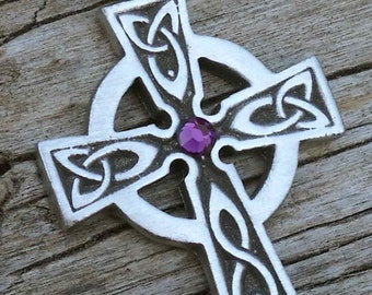Pewter Celtic Cross Irish Wales Pendant with Swarovski Crystal Purple Amethyst FEBRUARY Birthstone (300)