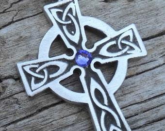 Pewter Celtic Cross Irish Wales Pendant with Swarovski Crystal Lavender Tanzanite JUNE Birthstone (300)