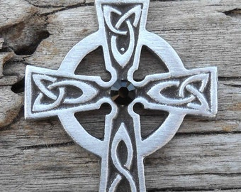 Pewter Celtic Cross Irish Wales Pendant with Swarovski Black Onyx Crystal (300)