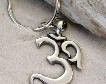 Pewter Ohm Om Yoga Buddha Namaste Keychain Key Ring (53E-KC)