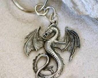 Pewter Dragon Gothic Fantasy Keychain Key Ring (52G-KC)