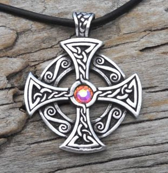 Pewter SOLAR CROSS Swarovski Crystal Celtic Druid Irish Aurora Borealis APRIL Birthstone Pendant