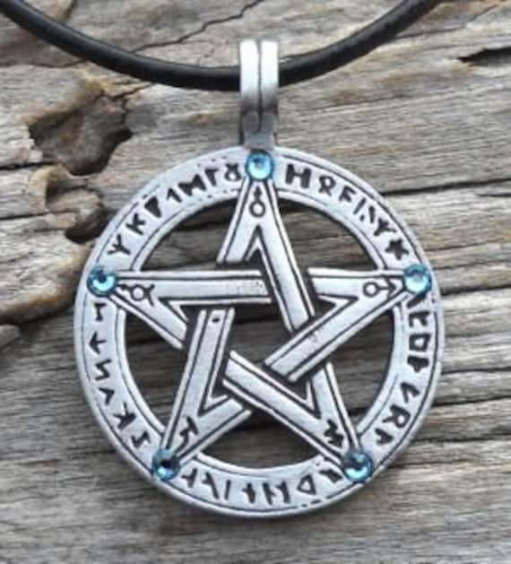 Pewter Pentagram Swarovski Crystal Pendant, Pagan Wiccan Pentacle with Runes and Aquamarine Blue MARCH Birthstone (50G)