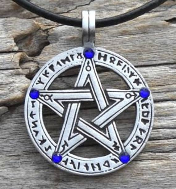 Pewter Pentagram Swarovski Crystal Pendant, Pagan Wiccan Pentacle with Runes and Sapphire Blue SEPTEMBER Birthstone (50G)