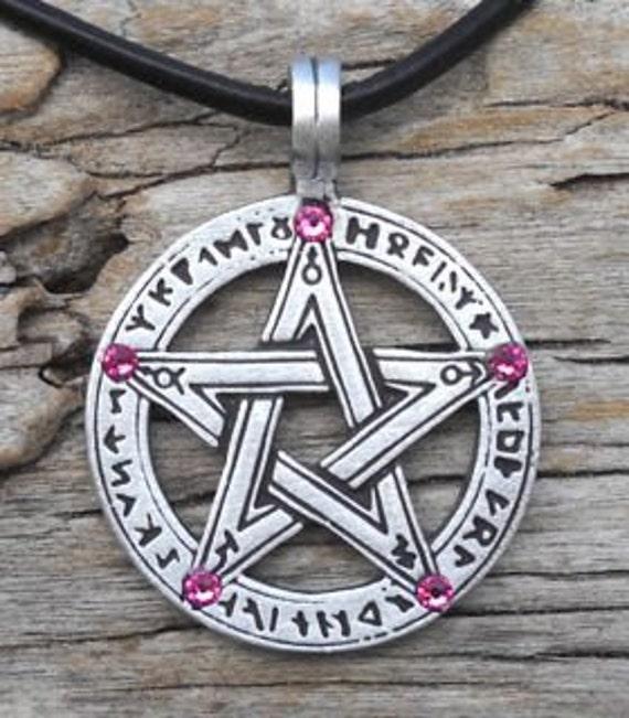Pewter Pentagram Swarovski Crystal Pendant, Pagan Wiccan Pentacle with Runes and Pink Tourmaline OCTOBER Birthstone (50G)